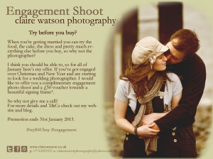 A couple embracing on the right with text explaining the free engagement photo shoot on the left.